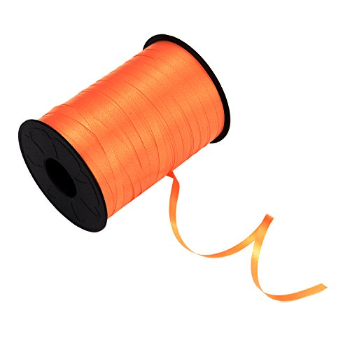 BBTO 500 Yards Orange Balloon Ribbon Roll Curling Crimped Ribbons Spool for Party Festival Halloween Decoration Crafts Gift Wrapping, 5 mm -