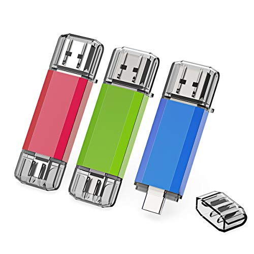 KEXIN 3 Pack 16GB Type C USB 3.0 Flash Drive Dual Drive 2 in 1 OTG Jump Drive for USB-C Smartphones Tablets, New MacBook, 3 Colors (Red, Blue, Green)