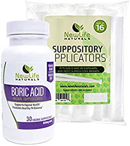 NewLife Naturals Boric Acid Suppositories 600mg w/Vaginal Applicators: 30 Suppositories & 16 Applicators - pH Balance for Women, Yeast Infection Treatment: Made in USA