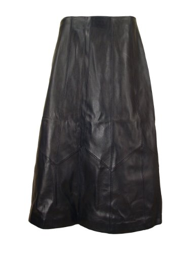 Paccilo Women 3023 PETITE Fashion Leather Flared Black Skirt
