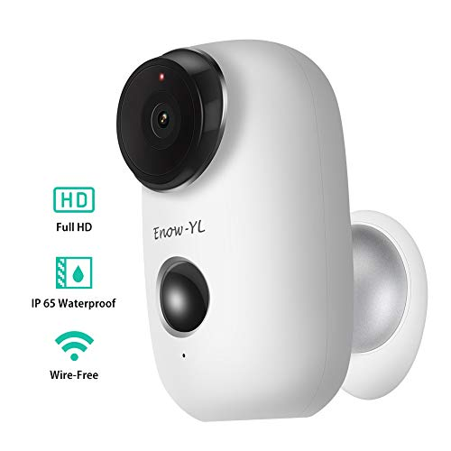Battery Security Camera, Enow-YL HD 720P Wireless Wire-Free 2.4G WiFi Rechargeable Battery Powered Surveillance Weaterproof Outdoor IP Camera with PIR Motion Sensor, Two-Way Audio, Night Vison