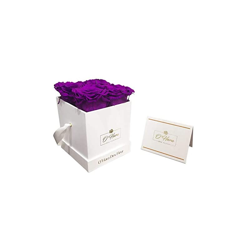silk flower arrangements o'hara des fleur   real roses that last a year or more preserved roses in a box no need to water or deal with wilted petals (purple, white box)