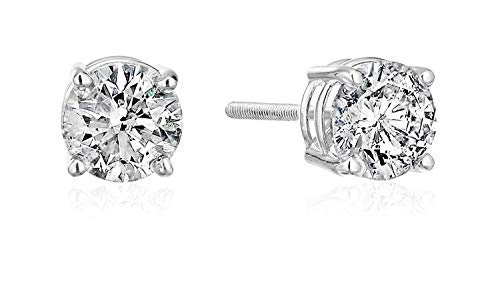Certified 14k Gold Diamond Stud Earrings - J-K Color, I2 Clarity, White or Yellow Gold (white-gold) (Single Diamond Stud Earring)