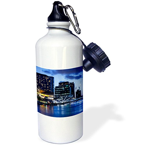 Danita Delimont - Australia - Australia, Melbourne, South Wharf, Bridge over the Yarra River, dusk - 21 oz Sports Water Bottle - Wharf Melbourne
