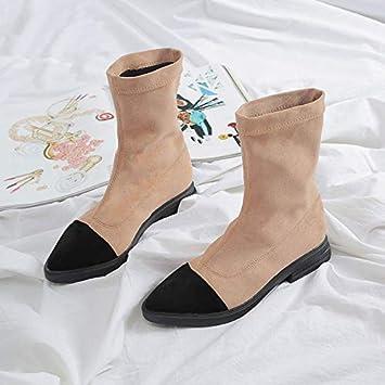 Shukun Botines Botas Planas de Punto Negro de otoño e Invierno Botas elásticas de Mujer Calcetines Botas Botas Martin Botas Delgadas de Moda: Amazon.es: ...