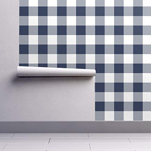 Peel-and-Stick Removable Wallpaper - Navy Buffalo Check Navy and White Plaid Check Buffalo Check Navy Jumbo by Littlearrowdesign - 24in x 96in Woven Textured Peel-and-Stick Removable Wallpaper Roll