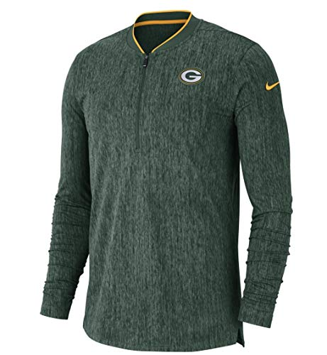Nike Men's Dri Fit Green Bay Packers Coaches 1/2 Zip Sideline Top Jacket (Fir Green, Large)
