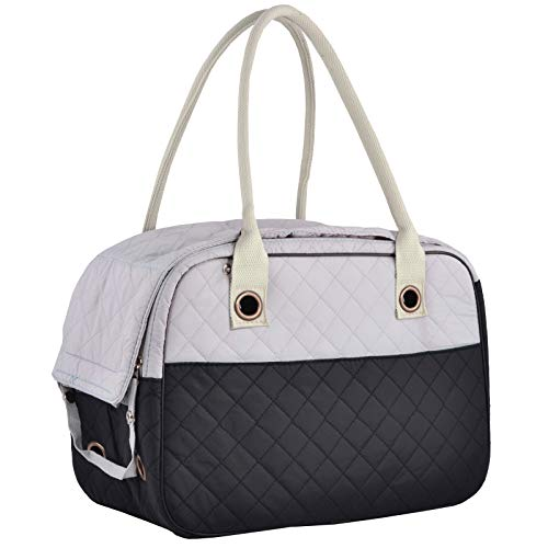 (MG Collection Black/Gray Designer Inspired Stylish Quilted Soft Sided Travel Dog and Cat Pet Carrier Tote Hand Bag)