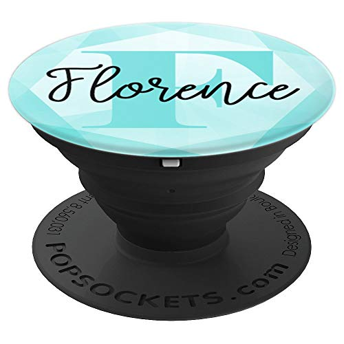 - Florence Name Aqua Teal Diamond Collapsible Phone Grip - PopSockets Grip and Stand for Phones and Tablets