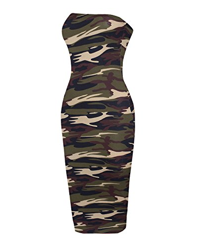 Sexy Tube Top Bodycon Midi Dress Army Olive(Camel) M ()
