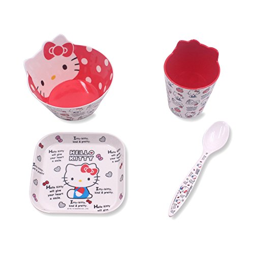 Finex Set of 4 - Red & White Hello Kitty Meal Set - Cup, Spoon, Bowl, Plate Kids Dinner Meal Dishes Feeding set for toddlers Microwave Dishwasher safe]()