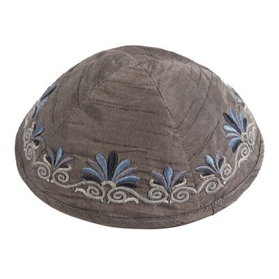 Light 9gr (Kippah Yarmulkes & Yemenite Hat - Yair Emanuel Judaica EMBROIDERED KIPPAH FLOWERS GRAY (Bundle))