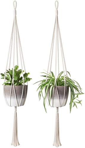 Mkono 2Pcs Macrame Plant Hanger Indoor Outdoor Hanging Planter Basket Cotton Rope Home Decor 40 Inch from Mkono