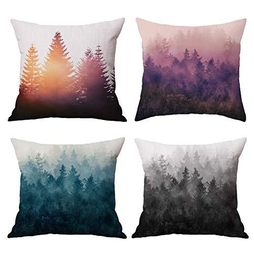 - Hidecor Forest Tree Throw Pillow Covers Nature Pillow Case Cotton Linen Rustic Cushion Cover for Sofa Couch 18x18 Set of 4