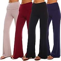 Isaac Liev 4 Pack Women's Palazzo Pants – Fold Over High Waist Lounge Rayon Stretch Pants