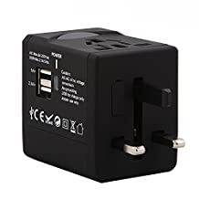 Global Travel Multipurpose Adapter,mobfun Univeral Travel Power 2USB Wall Charger with AC Socket with Convertible Plug Used in USA EU UK AUS Asia 150 Countries (Black)