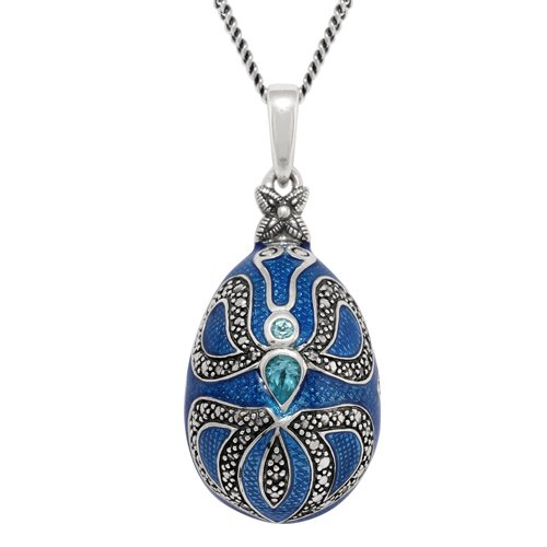 Sterling Silver 0.40ct Blue Topaz Faberge Egg Style, used for sale  Delivered anywhere in USA