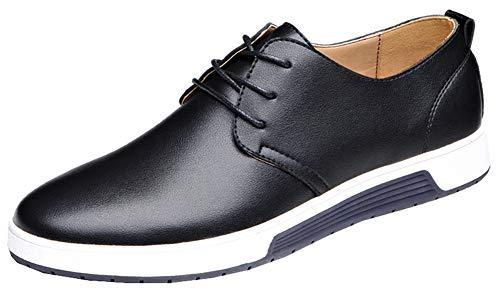 Snone Uomo Scarpe di Pelle da Uomo d'Affari Scarpe Stringate Traspirante Antiscivolo Casual Moda Stile Coreano Ragazzi Moda Tinta Unita Lavoro in Pelle Scarpe da Sposa Stile 1