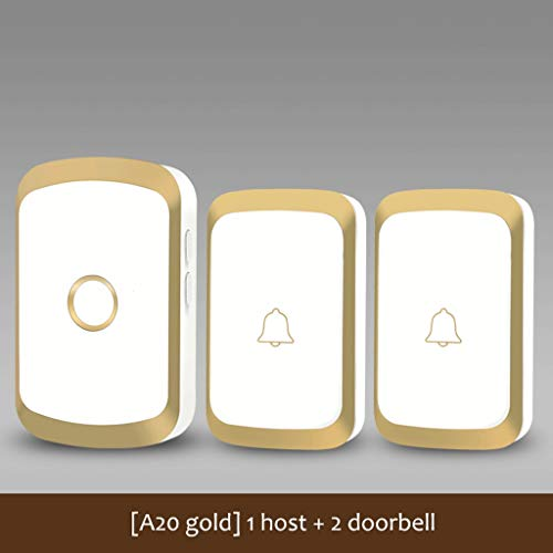 Xxw Home Wireless Doorbell AC Digital Electronic Waterproof Remote Control Video Doorbell Elderly Long Distance Pager (Color : [A20 Gold] 1 Host+2 doorbell)