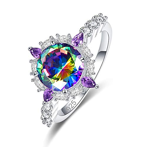 - Narica Women's 925 Sterling Silver Filled Round Cut Rainbow Topaz Engagement Wedding Rings Size 7