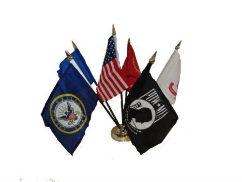 USA Armed Forces Military Pow Mia 6 Flags 4''x6'' Desk Set T