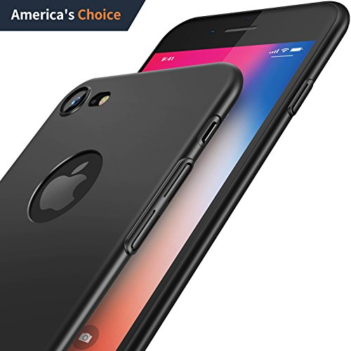 iPhone 7 Case, CASEKOO Slim Fit Ultra Thin Hard Shell Case Matte Finish Anti-Scratch with Great Grip Black Bumper Sleek Protective Cover Case for iPhone 7-Matte Black (Case Slim Hard)