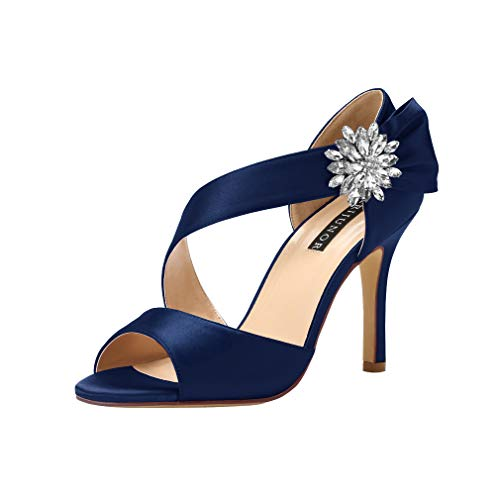 Satin Bow High Heel Sandal - ERIJUNOR E0053 High Heel Party Sandals for Woman Open Toe Stiletto Bow Shoes Wedding Evening Dress Shoes for Dancing Navy Size 6