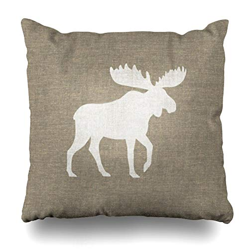 Ahawoso Throw Pillow Covers Modern Popular Moose Style Pillowslip Square Size 20 x 20 Inches Cushion Cases Pillowcases