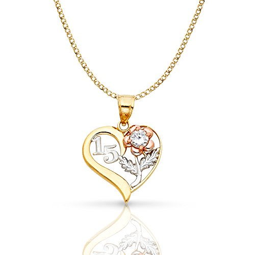 Ioka Jewelry - 14K Tri Color Gold Sweet 15 Years Quinceanera Heart Charm Pendant with 2.3mm Hollow Cuban Chain Necklace - 16