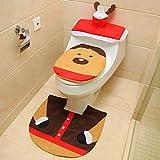 Ohuhu Christmas Santa Toilet Seat Cover, Tank Cover, Toilet Paper Box Cover & Rug Set, Christmas Decoration Set