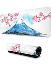 Mount Fuji and Cherry Blossoms Painting Gaming Mouse Pad XL, Extended Large Mouse Mat Desk Pad, Stitched Edges Mousepad, Long Non-Slip Rubber Base Mice Pad, 31.5 X 11.8 Inch