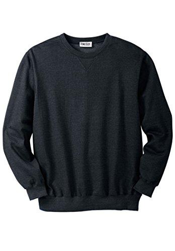 - KingSize Men's Big & Tall Fleece Crewneck Sweatshirt, Black Big-5Xl