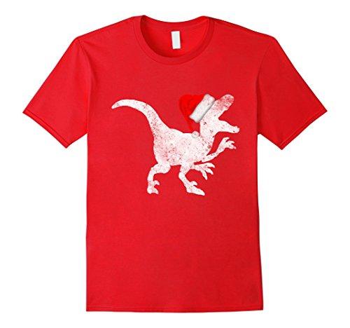 Raptor Costume Christmas (Mens Santa Hat Raptor Costume Tshirt Christmas Gift Dinosaur Tee Large Red)
