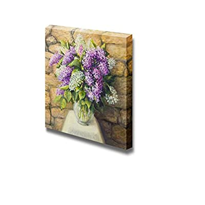 Beautiful Still Life with Blooming Lilacs in a Nice Glass Vase Over a Stone Tiled Wall - Canvas Art Wall Art - 24