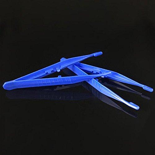 10pcs Disposable Medical Tweezers Small Plastic Tweezers Blue - First Aid Kit Tweezer