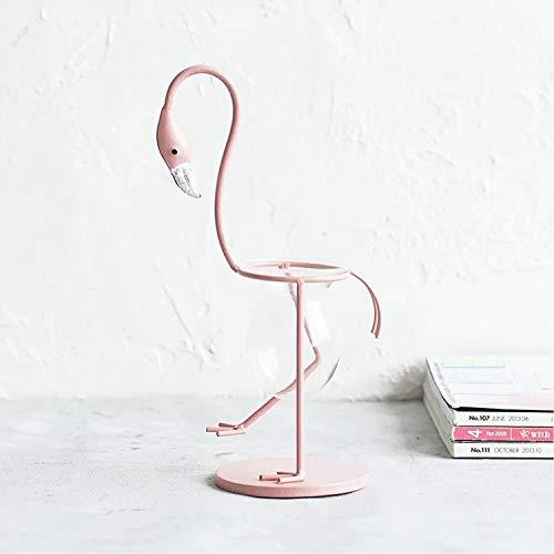 Glass Bulb Vase Plant Stand Flower Pot Metal Holder,Office Desktop Home & Office Decor Handmade (Flamingo-B)