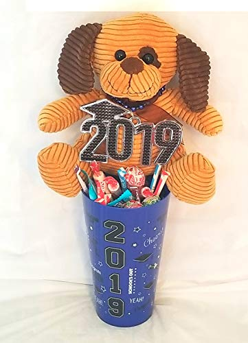 """Graduation Gift! """"Candy In A Tumbler"""" with 2019 Keepsake Bear -Great Gift for a Happy Graduate! (Blue)"""