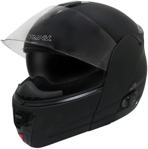 Hawk H-6611 Flat Black Dual-Visor Modular Motorcycle Helmet with Blinc Bluetooth - Size : Large