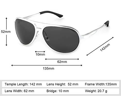 Aviador Gris Protección Gafas Dañi de Plateado los Ultraligero UVA de Sol 100 Hombre Rayos Metal Polarizadas UVB Contra dW4nAdT