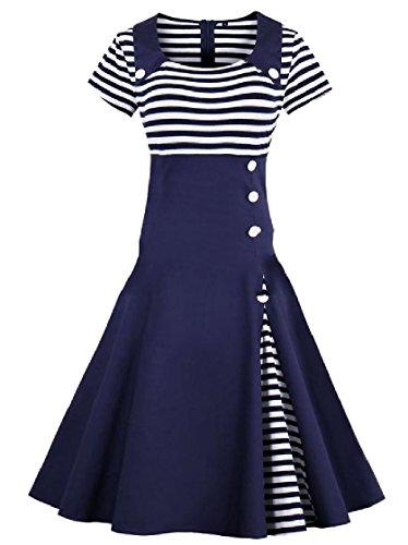 Patched Purplish Turn Retro Collar Stripes Down Dresses Coolred Oversized Zipper Closure Women Evening Blue z46qn7qX