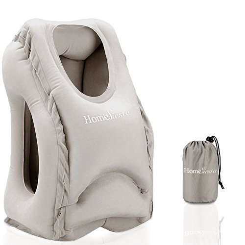 HomeSiesta Airplane Pillow - Inflatable Travel Pillow for Airplanes, buses and Trains Napping, Ergonomic Soft Head Neck and Chin Support Pillow For Long Flights, Portable With Fast Inflating (Grey)