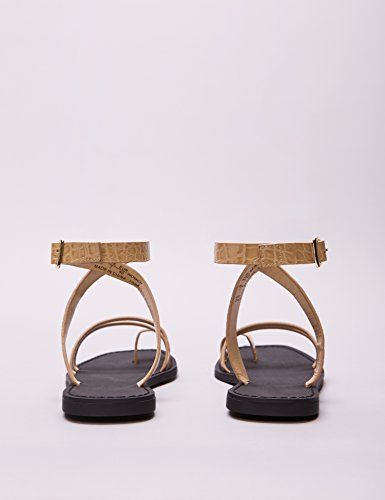 FIND Women's Ankle Strap Sandals Brown aYmROWO