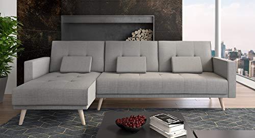 Comfort Home-Innovation Canapé d'angle Convertible Verona 267cm, Convertible en lit, réversible,Gris Clair