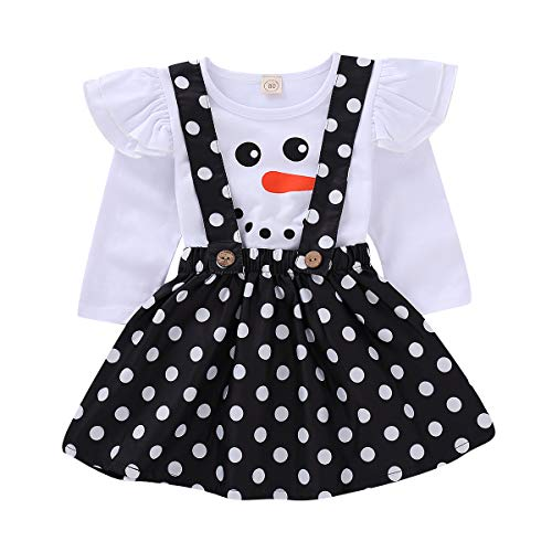 (Treafor Baby Toddler Girl Christmas Outfit | Long Sleeve Snowman Ruffle Romper + Polka Suspender Skirt (3-4Y,)
