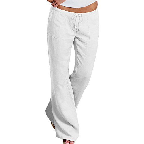 Youthny Womens Casual Cotton Linen Wide Leg Flared Pants with Drawstring Waist(White,L)