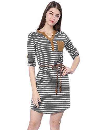 Allegra K Women's 3/4 Sleeves Button Upper Above Knee Belted Stripes Dress L (Above Knee Dress)