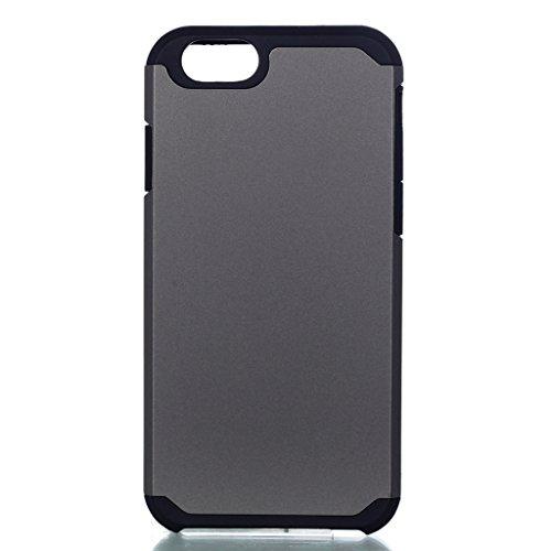 """Coque Cover iPhone 7, IJIA Ultra-mince PC Dur et Les TPU Doux (2 en 1) Plastique Silicone Hard Bumper Case Cover Shell Coque Housse Etui pour Apple iPhone 7 (4.7"""") + 24K Or Autocollant (Gris)"""