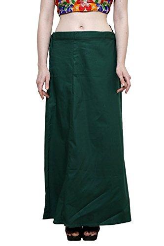 Aurielle Rogisse Mujer India Sari Algodón Enagua Bollywood Solid Inskirt Costuras Forro Enaguas Dark Green