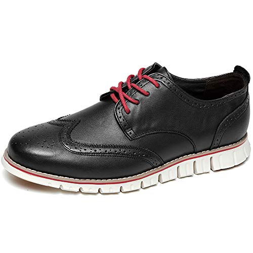 Men Casual Shoes Leather (Laoks Men's Brogues Oxford Wingtip Genuine Leather Dress Shoes Business Casual Lace-up Black)