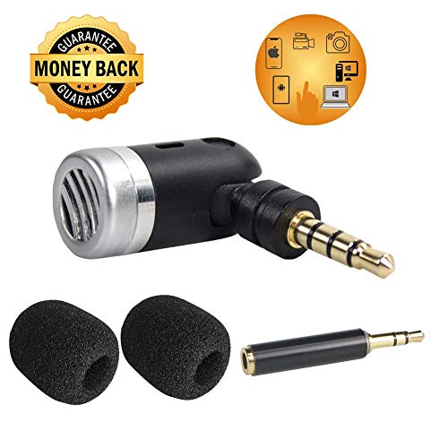 Phone Recording Microphone,3.5mm Mini Microphone with TRS Adapter for Smartphone YouTube Podcast Gopro Camera Laptop ()